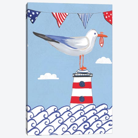 Coastal Bird On Blue I Canvas Print #WAC8074} by Farida Zaman Art Print