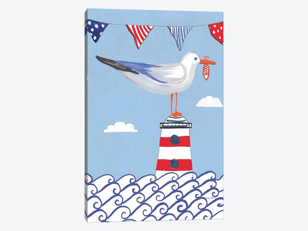 Coastal Bird On Blue I by Farida Zaman 1-piece Canvas Wall Art