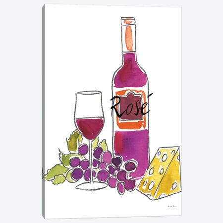 Wine Time: Rose Canvas Print #WAC8080} by Farida Zaman Canvas Art Print