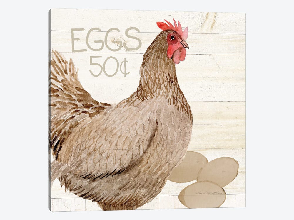 Life On The Farm: Chicken III by Kathleen Parr McKenna 1-piece Canvas Wall Art