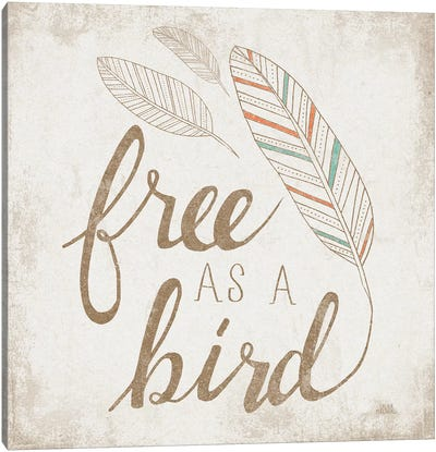 Free As A Bird Beige Canvas Art Print