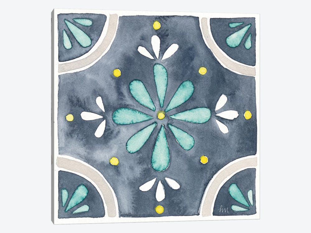 Garden Getaway Tile I Blue by Laura Marshall 1-piece Canvas Art