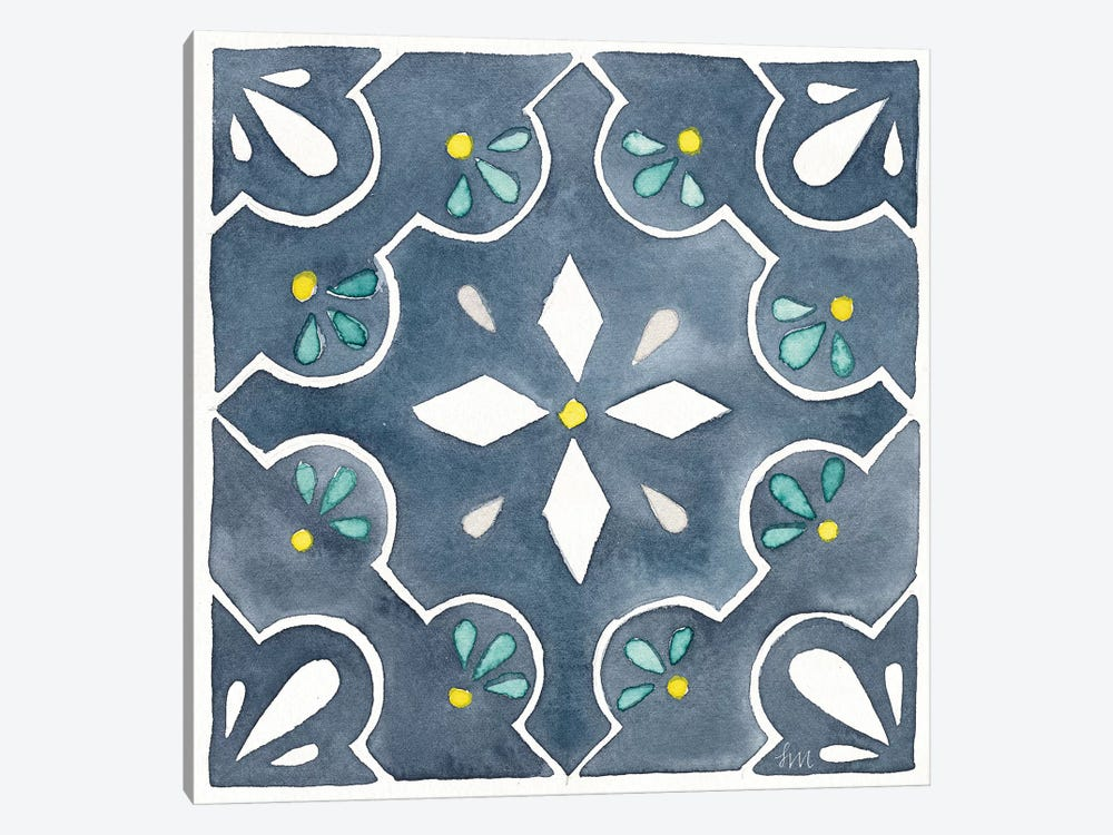 Garden Getaway Tile II Blue by Laura Marshall 1-piece Canvas Artwork