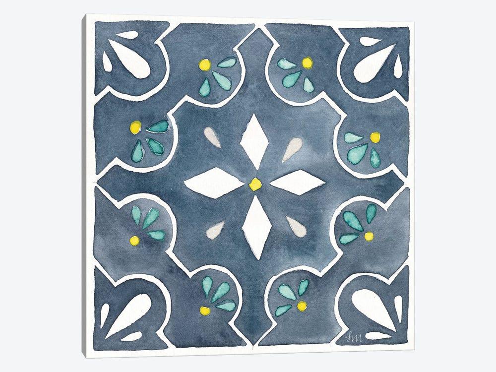 Garden Getaway Tile II Blue by Laura Marshall 1-piece Canvas Artwork