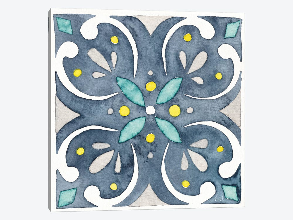 Garden Getaway Tile IV Blue by Laura Marshall 1-piece Canvas Artwork