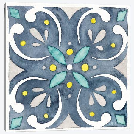 Garden Getaway Tile IV Blue Canvas Print #WAC8157} by Laura Marshall Canvas Wall Art