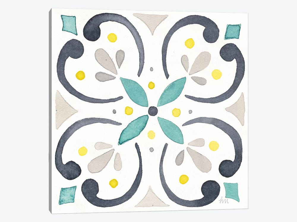 Garden Getaway Tile IV White by Laura Marshall 1-piece Canvas Art Print