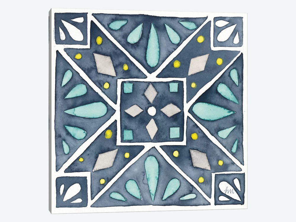 Garden Getaway Tile IX Blue by Laura Marshall 1-piece Canvas Wall Art