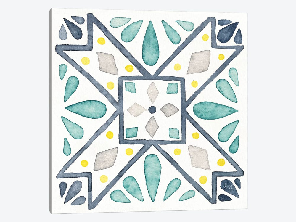 Garden Getaway Tile IX White by Laura Marshall 1-piece Canvas Wall Art