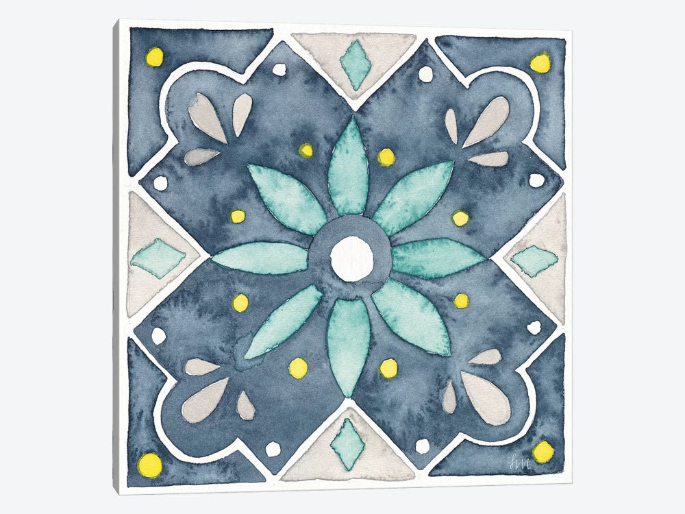 Garden Getaway Tile V Blue by Laura Marshall 1-piece Canvas Art Print
