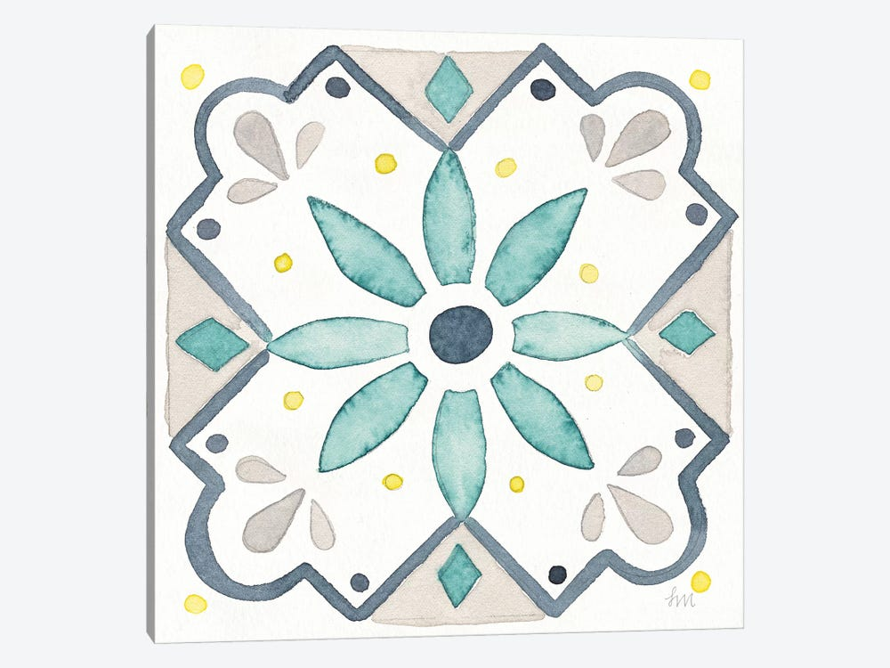 Garden Getaway Tile V White by Laura Marshall 1-piece Canvas Art