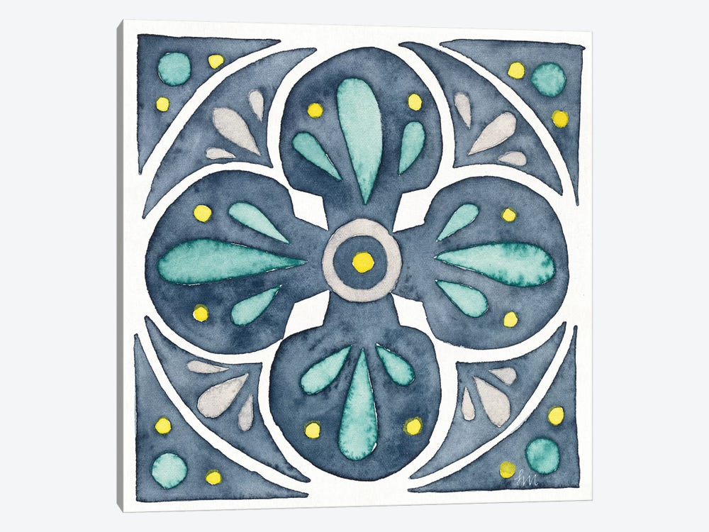 Garden Getaway Tile VI Blue 1-piece Canvas Print