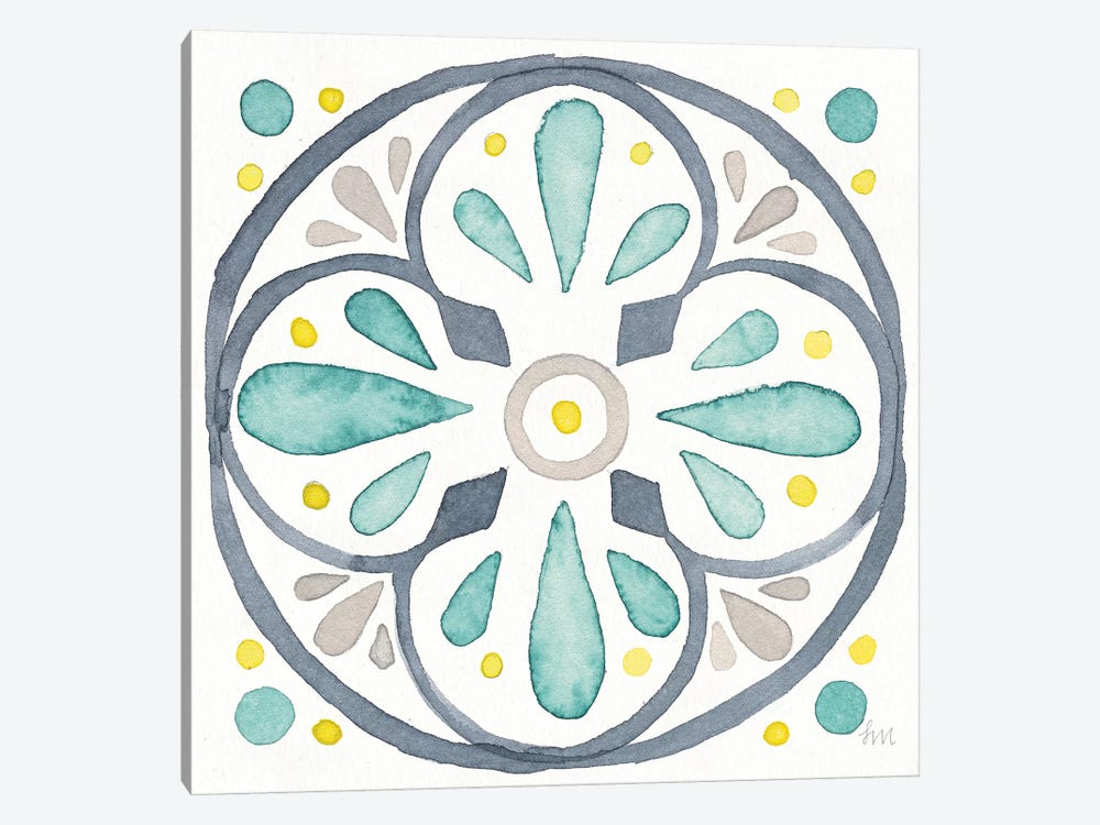 Garden Getaway Tile VI White by Laura Marshall 1-piece Canvas Artwork