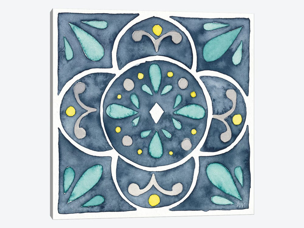 Garden Getaway Tile VII Blue by Laura Marshall 1-piece Canvas Art Print