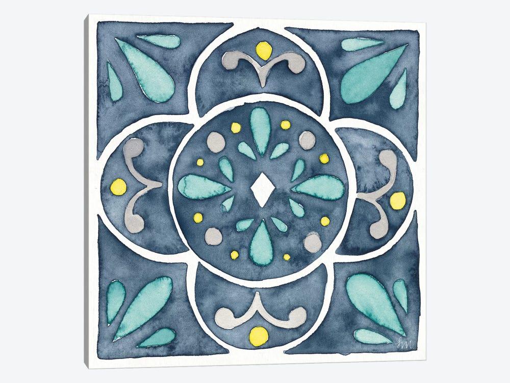 Garden Getaway Tile VII Blue by Laura Marshall 1-piece Canvas Art Print
