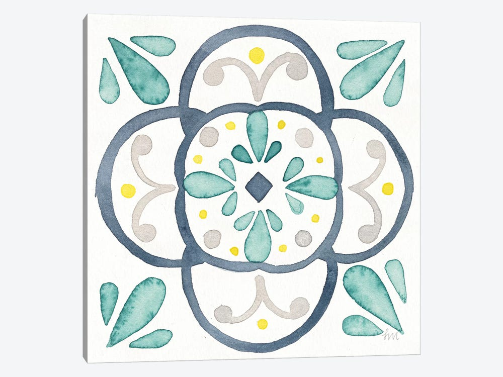 Garden Getaway Tile VII White by Laura Marshall 1-piece Canvas Wall Art