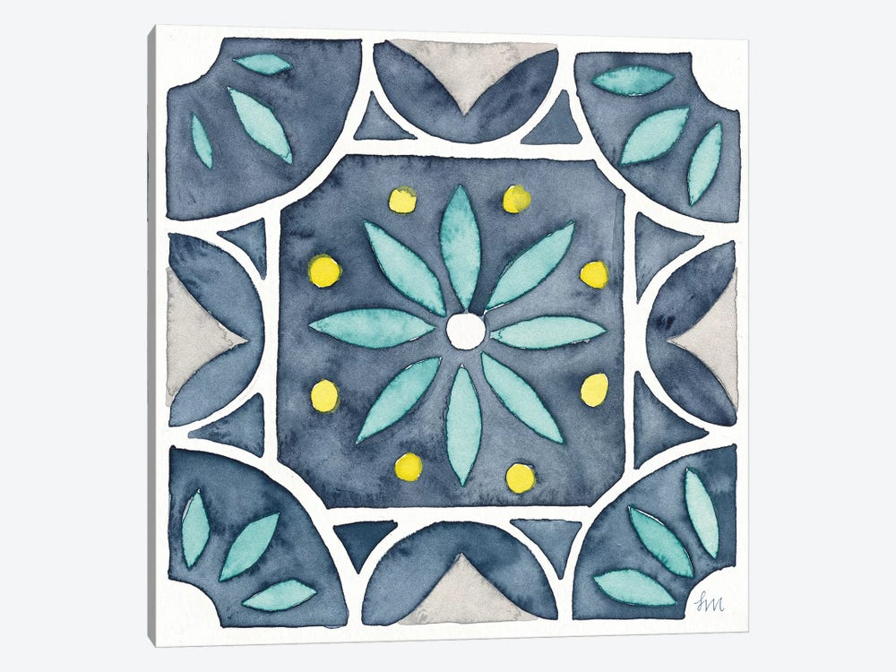 Garden Getaway Tile VIII Blue by Laura Marshall 1-piece Canvas Print