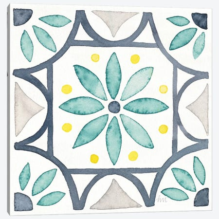 Garden Getaway Tile VIII White Canvas Print #WAC8168} by Laura Marshall Canvas Artwork