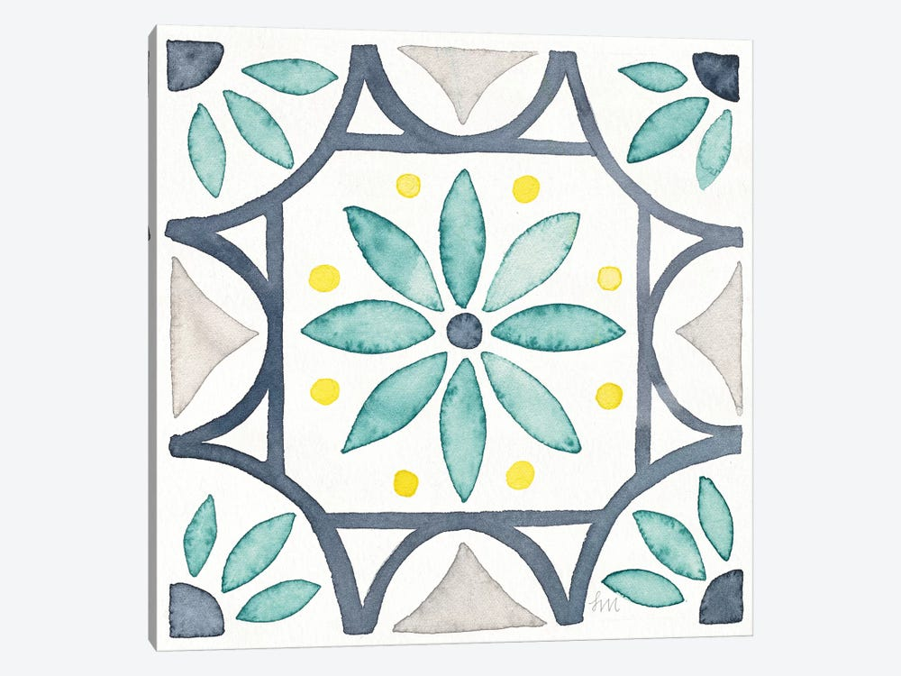 Garden Getaway Tile VIII White by Laura Marshall 1-piece Canvas Artwork