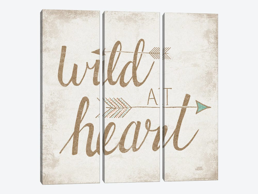 Wild At Heart, Beige by Laura Marshall 3-piece Canvas Art Print