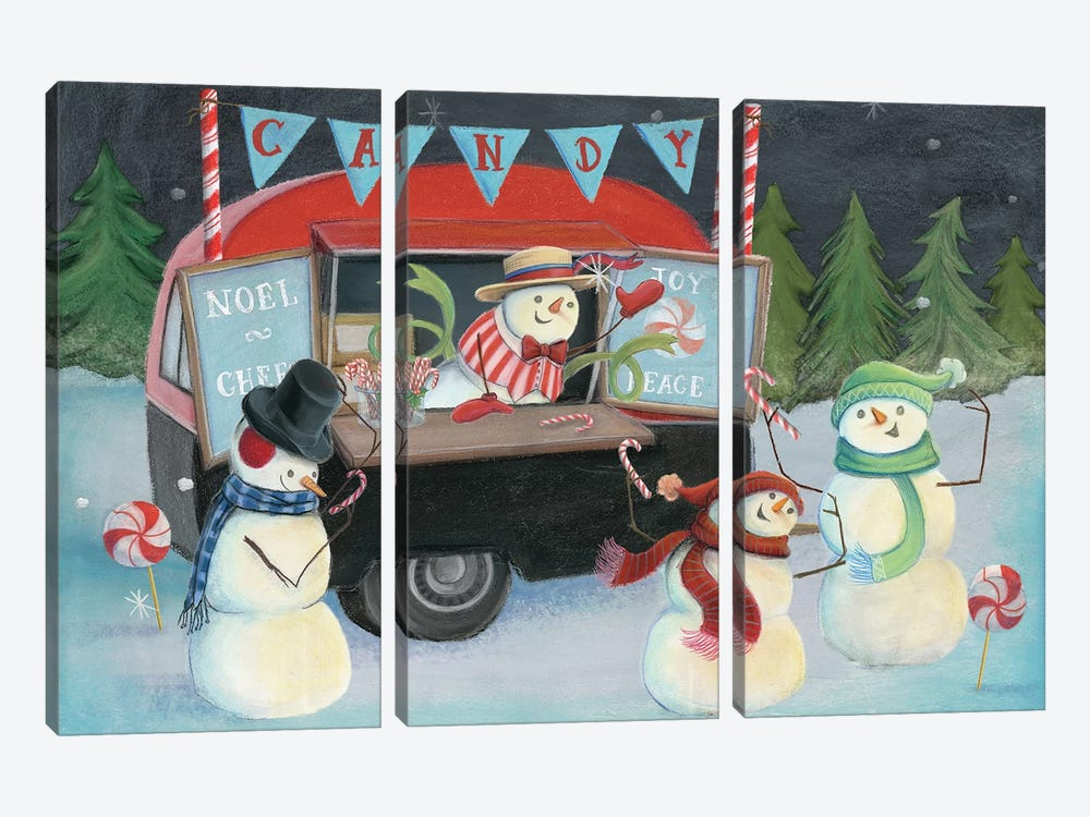 Christmas On Wheels, Light I by Mary Urban 3-piece Canvas Art