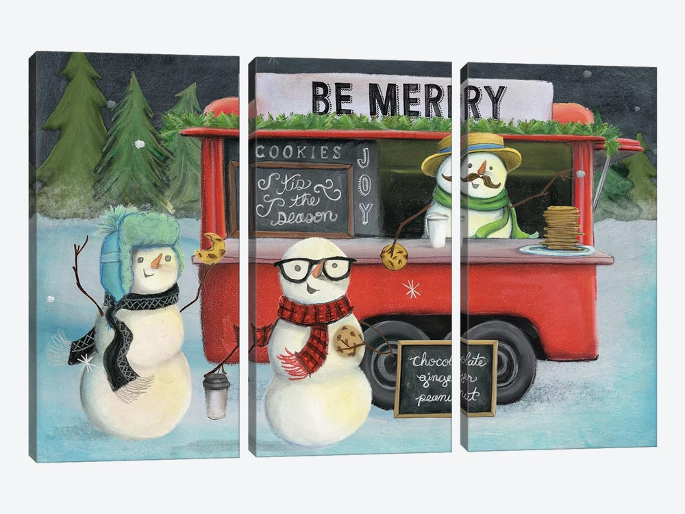 Christmas On Wheels, Light III by Mary Urban 3-piece Canvas Art