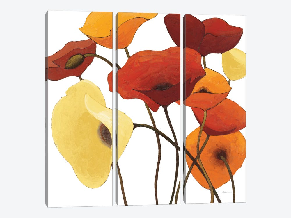 Up One On White Yellow by Shirley Novak 3-piece Canvas Artwork