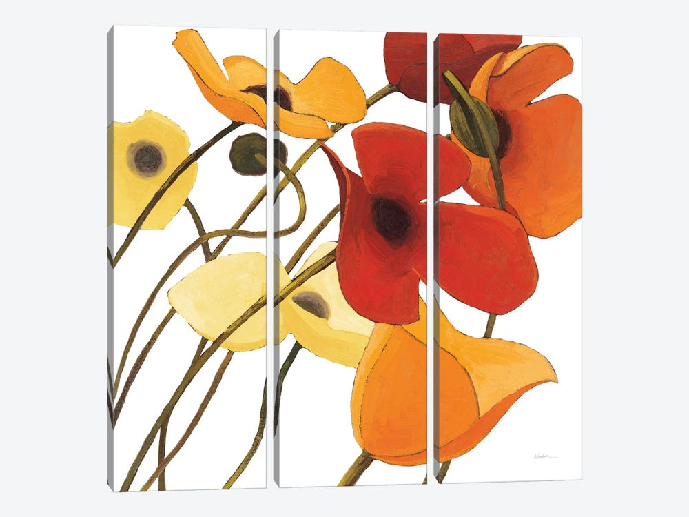 Up Two On White Yellow by Shirley Novak 3-piece Canvas Art Print