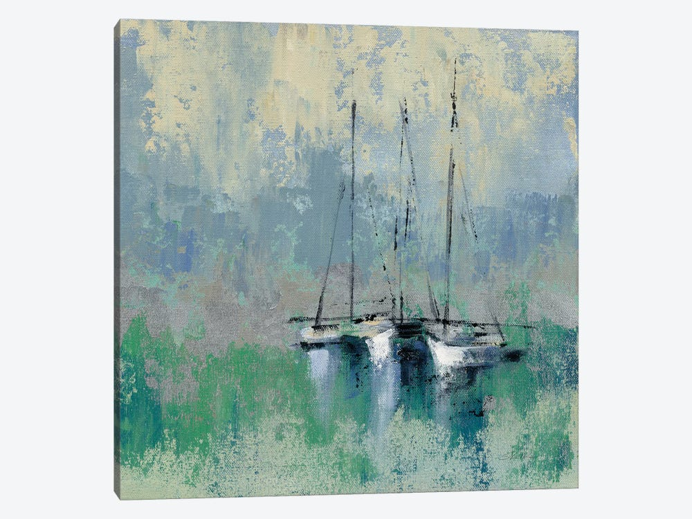 Boats In The Harbor II 1-piece Canvas Art