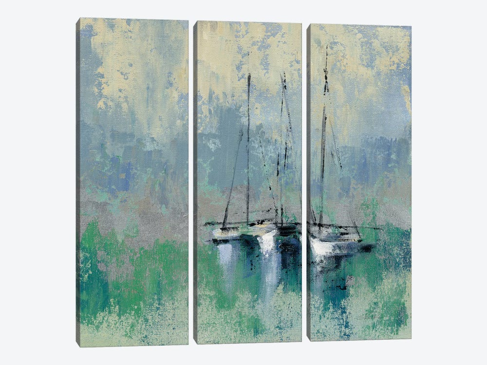 Boats In The Harbor II 3-piece Canvas Artwork