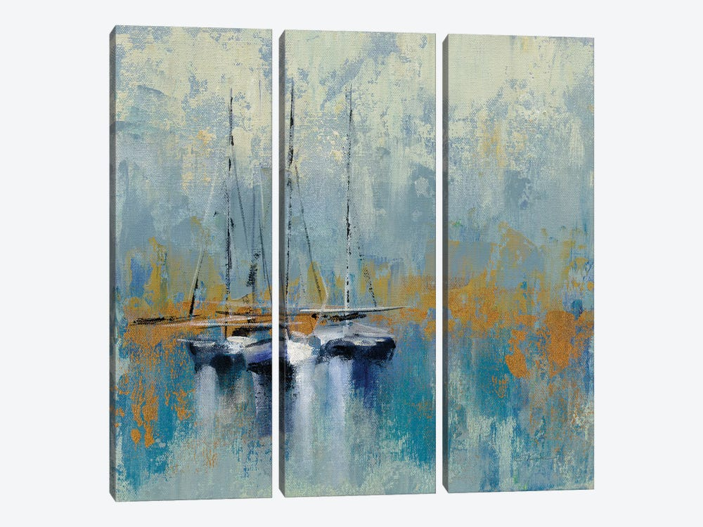 Boats In The Harbor III by Silvia Vassileva 3-piece Canvas Art Print