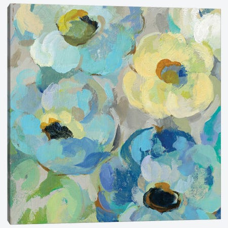 Fresh Teal Flowers II Canvas Print #WAC8243} by Silvia Vassileva Canvas Art Print
