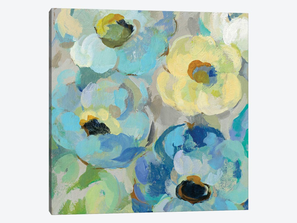 Fresh Teal Flowers II by Silvia Vassileva 1-piece Canvas Art Print