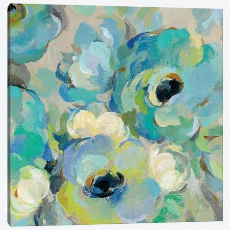 Fresh Teal Flowers III Canvas Print #WAC8244} by Silvia Vassileva Canvas Artwork
