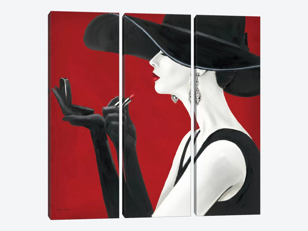 Haute Chapeau Rouge II by Marco Fabiano 3-piece Canvas Art Print
