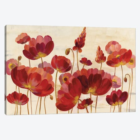 Red Flowers On Cream Canvas Print #WAC8250} by Silvia Vassileva Canvas Artwork