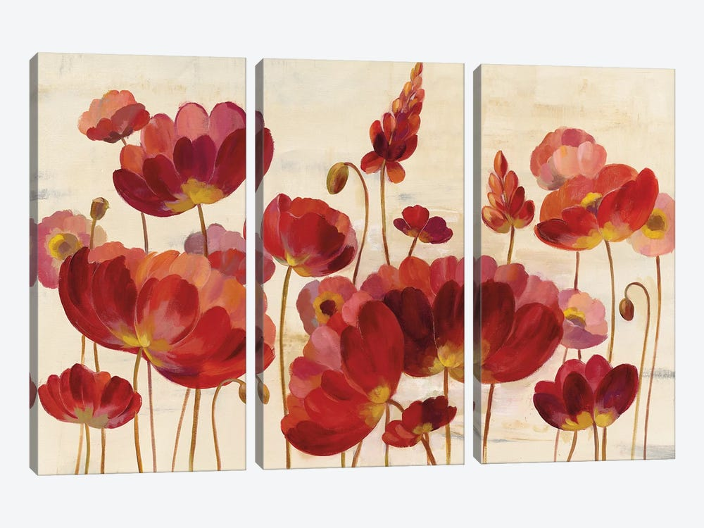 Red Flowers On Cream by Silvia Vassileva 3-piece Canvas Print