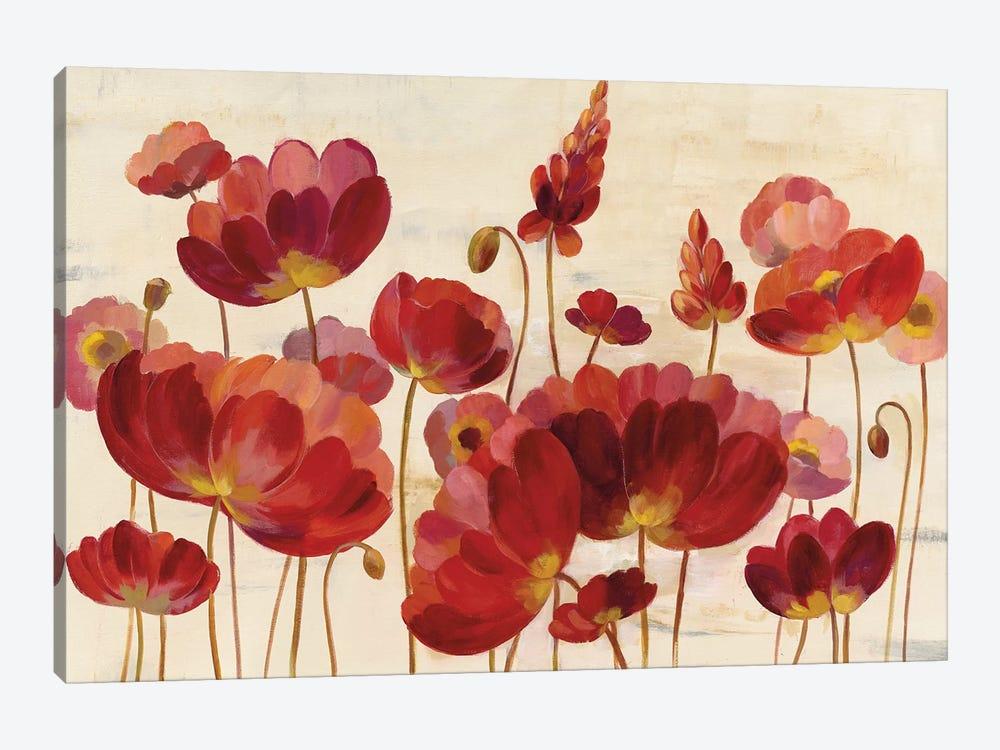 Red Flowers On Cream by Silvia Vassileva 1-piece Canvas Art Print