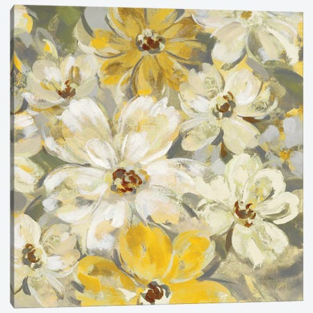 Scattered Spring Petals, Yellow Gray Canvas Print #WAC8253} by Silvia Vassileva Canvas Art