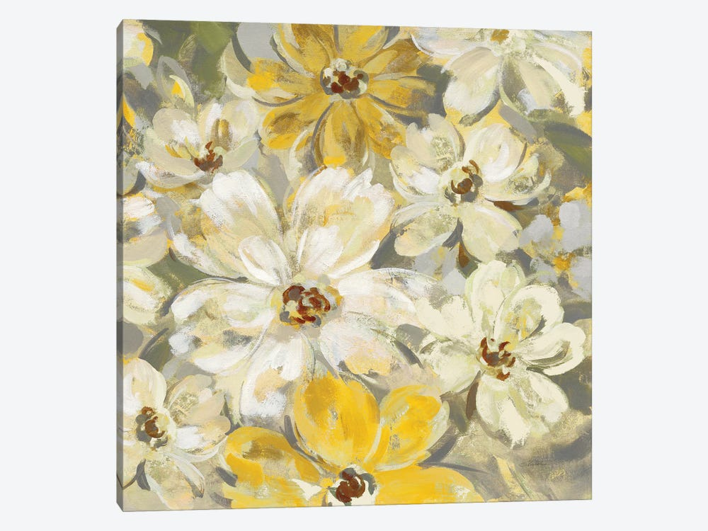 Scattered Spring Petals, Yellow Gray by Silvia Vassileva 1-piece Canvas Artwork