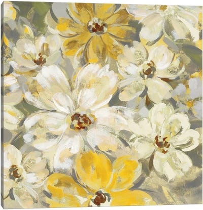 Scattered Spring Petals, Yellow Gray Canvas Art Print