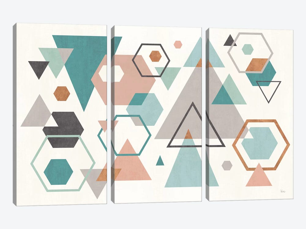 Abstract Geo I by Veronique Charron 3-piece Canvas Art Print