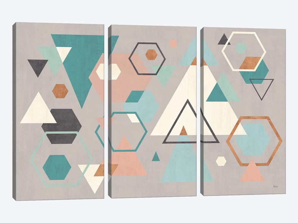 Abstract Geo I Gray by Veronique Charron 3-piece Canvas Art
