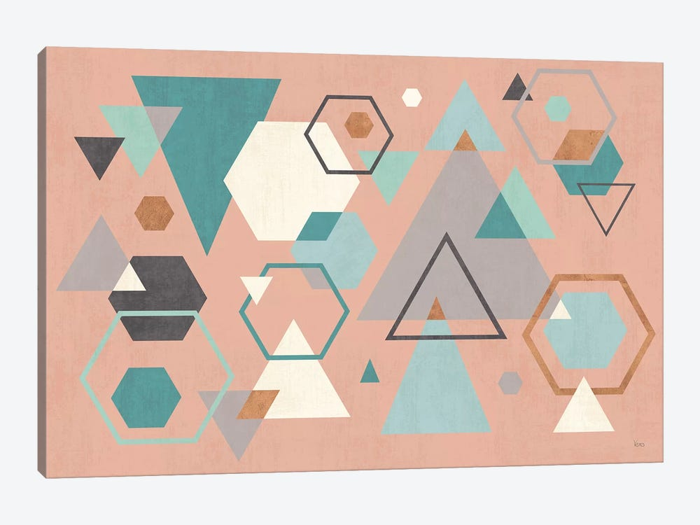 Abstract Geo I Pink by Veronique Charron 1-piece Canvas Print