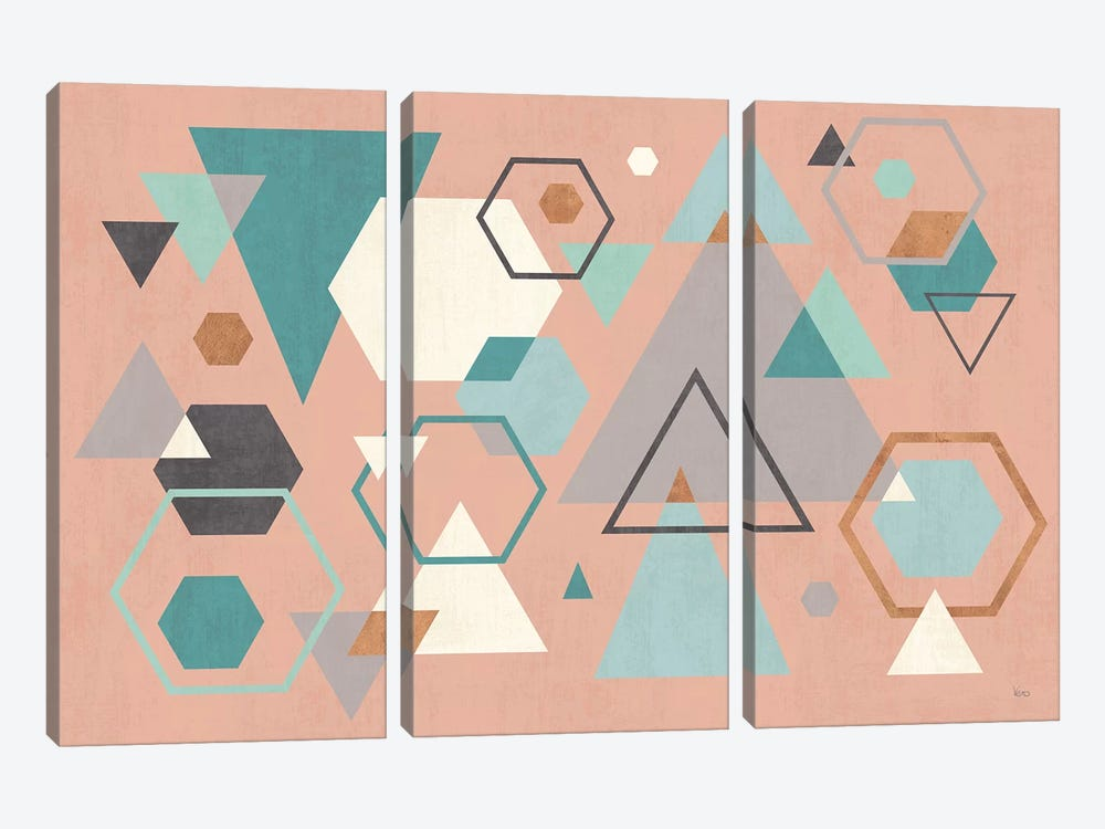 Abstract Geo I Pink by Veronique Charron 3-piece Canvas Art Print