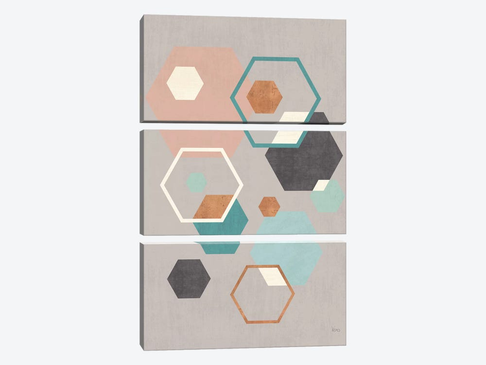 Abstract Geo III Gray by Veronique Charron 3-piece Canvas Wall Art