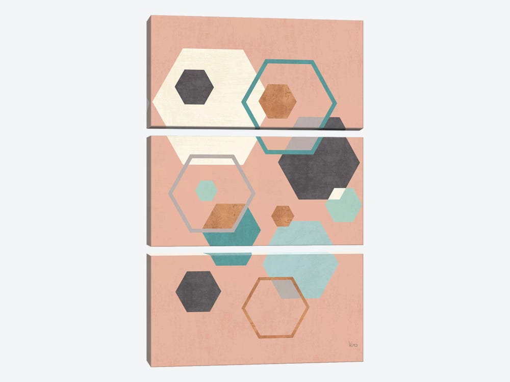 Abstract Geo III Pink by Veronique Charron 3-piece Art Print