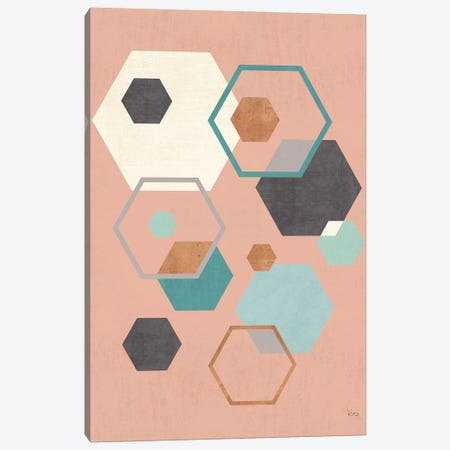 Abstract Geo III Pink 3-Piece Canvas #WAC8300} by Veronique Charron Canvas Wall Art