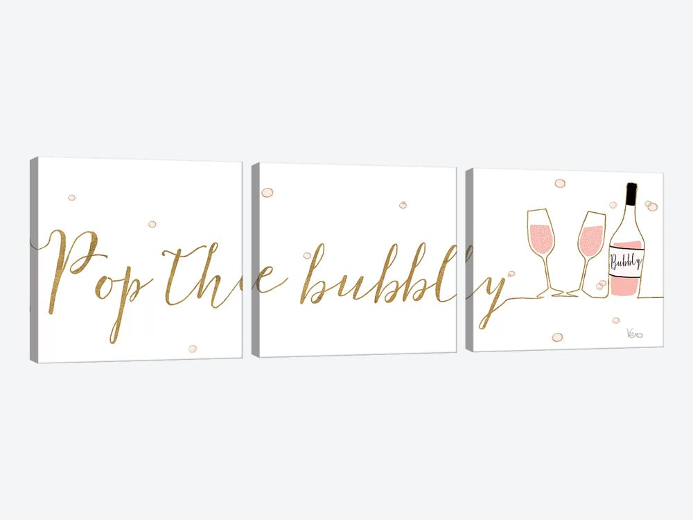 Underlined Bubbly III by Veronique Charron 3-piece Canvas Art