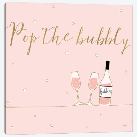 Underlined Bubbly VII Pink Canvas Print #WAC8307} by Veronique Charron Canvas Print